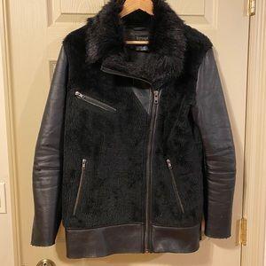 Top Shop Black Leather & Fur Jacket